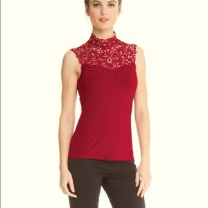 Ariadne #5507 lace mock neck top red